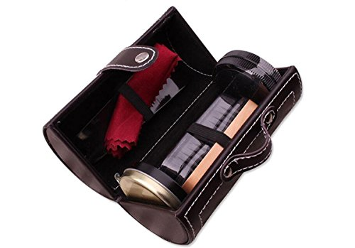 JOYOOO Outdoor Travel Shoe Shine Care Wooden Polish Cream Brush Kit Shoes Cleaning Tool