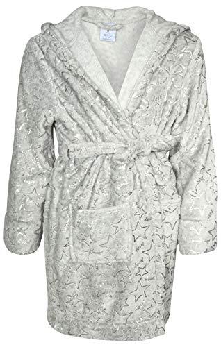 - Diesel Girl's Soft Plush Hooded Fleece Robe with Foil Print, Heather Grey/Silver, Medium'