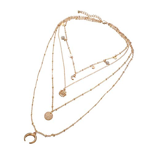 Women Delicate Moon Multilayer Irregular Clavicle Chain,Elegant Round Pendant Necklace,Horn Disc Tassel Choker