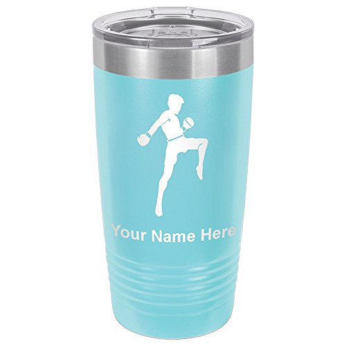 20oz Tumbler Mug, Muay Thai Fighter, Personalized Engraving Included (Light Blue) by SkunkWerkz