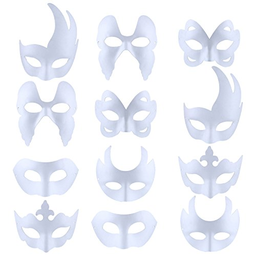 Paper Halloween Costumes (White Masks,FunPa 12PCS Paper Face Mask Costume Mask DIY Cosplay Mask Half Dance Mask for Adult Kids Mardi Gras Halloween Party Costume)