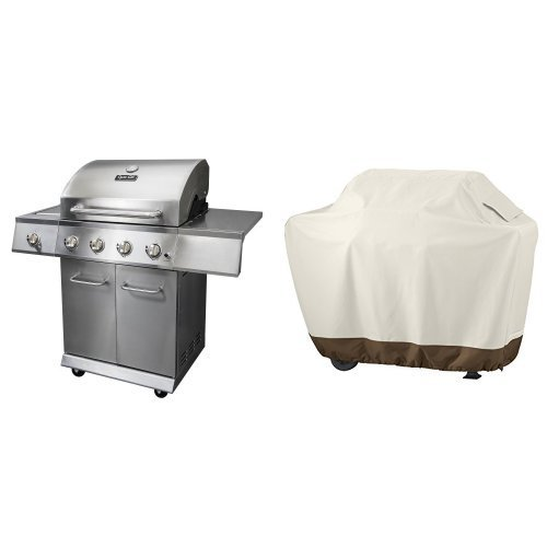 Dyna-Glo DGE Series Propane Grill, 4 Burner, Stainless & AmazonBasics Grill Cover - Medium by Dyna-Glo