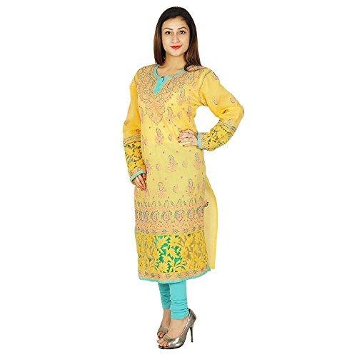 Diseñador indio Chikan bordado Kurta regalo étnico Kurti Casual vestido para ella Mujeres Amarillo