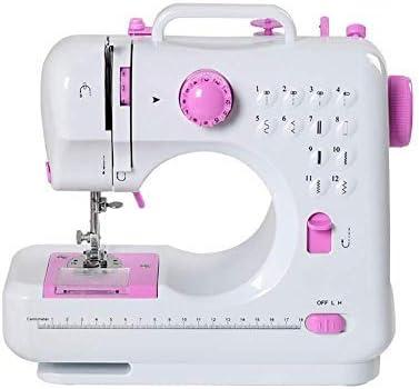 Máquina de coser Mini portátil eléctrico portátil para el hogar con pedal Overlock 12 puntos incorporados para aficionados principiantes bordado rosa seguridad