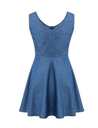 PU&PU Robe Aux femmes Ample Vintage,Couleur Pleine Col Arrondi Au dessus du genou Nylon , blue-s , blue-s