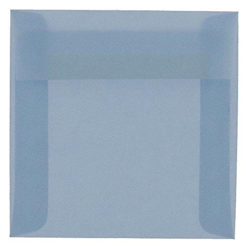 JAM PAPER 6.5 x 6.5 Square Translucent Vellum Envelopes - Surf Blue - Bulk 500/Box ()