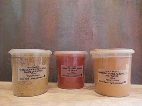 Sienna Pigment - The SIENNA Collection - Pack of 3 Natural Mineral Pigment Pack (150 ml|5OZ EA):Natural Sienna | Light Sienna | Burnt Sienna