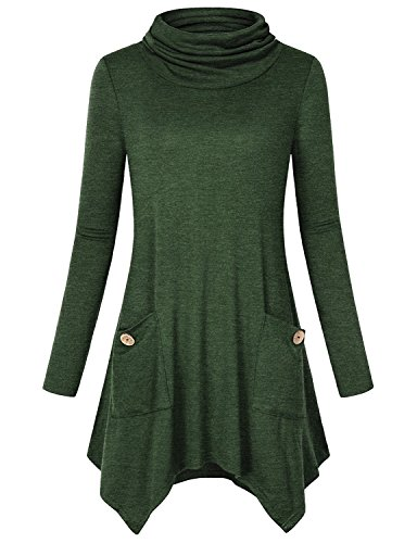 Anna Smith Ladies Tops To Wear With Leggings, Women Long Sleeve Tunic Cowl Neck Knitwear Form Fitting Tees Swing Cute Simple Sweater Business Casual Flared Hem Blouses With Pockets Green XX-Large (Smith Petite Sweater)