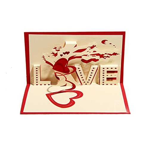 SUNNOW® 3D POP UP Grußkarte Handgemacht Liebe Baum der Liebe Valentinstag Segen Papier Klappkarten Business Geschenkkarte Glückwunschkarten