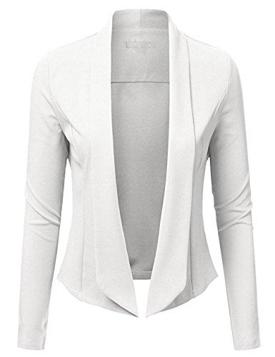 ARCITON Women's Lightweight Summer Long Sleeve Open Front Blazer Jacket White S