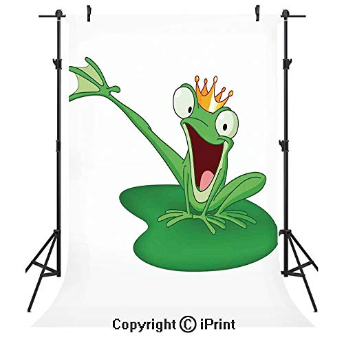Animal Decor Photography Backdrops,Happy Frog Prince with Crown in The Lake Romantic Character Love Fairytale Art,Birthday Party Seamless Photo Studio Booth Background Banner 3x5ft,Green Orange White -