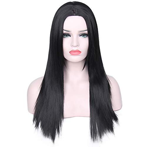 YLYX Long Straight Black Wigs for Women Ladies Synthetic Full Hair Natural Wig with Bangs for Cosplay Costume Or Daily Life Silky Grey Ombre Party Costume Ladies Hair Middle Parting 26inch,5 -