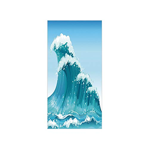 - Decorative Privacy Window Film/Cartoon Style Barreled Wave Tidal Curves Artwork Daytime at Ocean Foam/No-Glue Self Static Cling for Home Bedroom Bathroom Kitchen Office Decor Blue Light Blue White