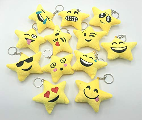 Emoji Keychains Plush Cute Toys For Kids Party Favors Suppliers Carnival Prizes for Classroom 12pack ()