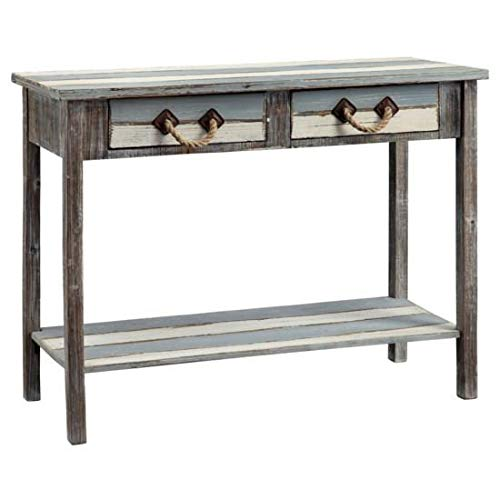 Crestview Collection Nantucket 2 Drawer Weathered Wood Accent Table from Crestview Collection