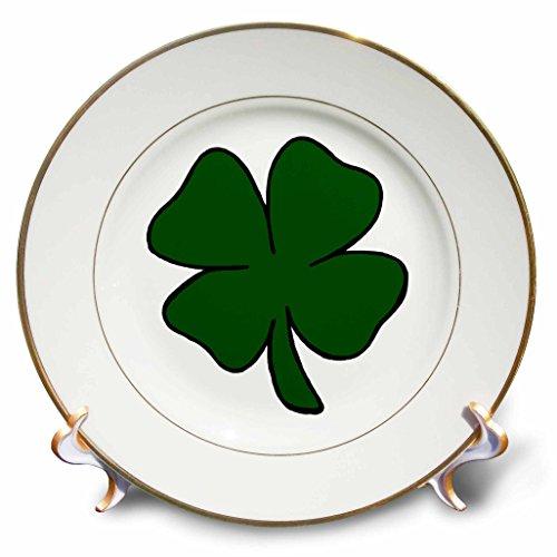 3dRose Simple Lucky Four Leaf Clover Design-Porcelain Plate, 8