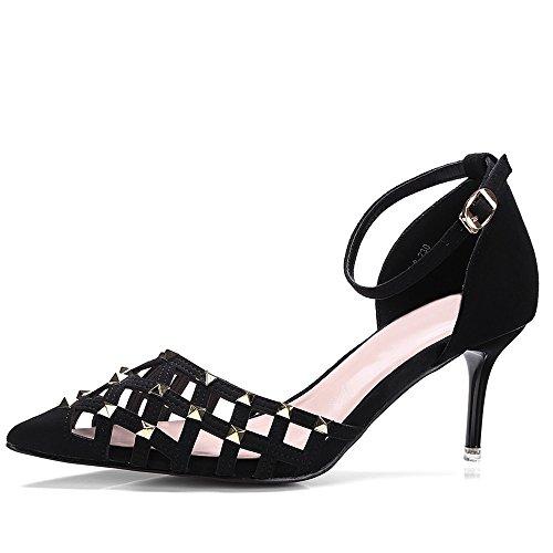 Nine Seven Moda Cuero Puntiagudos Sandalias de Tacón Aguja con Correa de Tobillo para Mujer negro