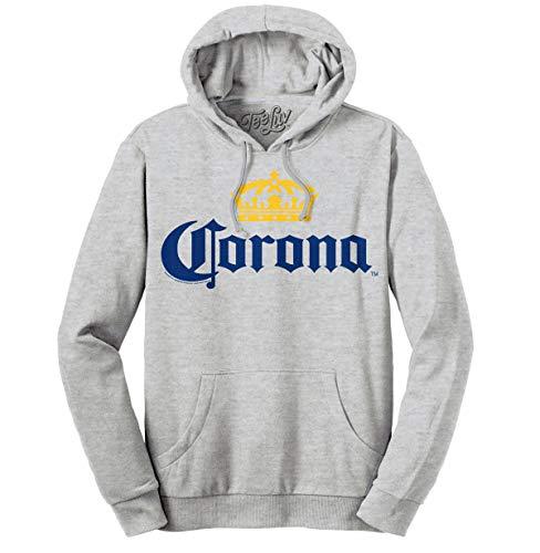 Tee Luv Corona Hoodie - Hooded Corona Beer Sweatshirt (Medium) Athletic Heather