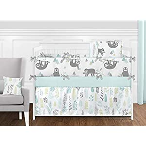 Sweet Jojo Designs Blue and Grey Tropical Leaf Window Treatment Valance – Turquoise, Gray and Green Botanical Rainforest Jungle Sloth Collection