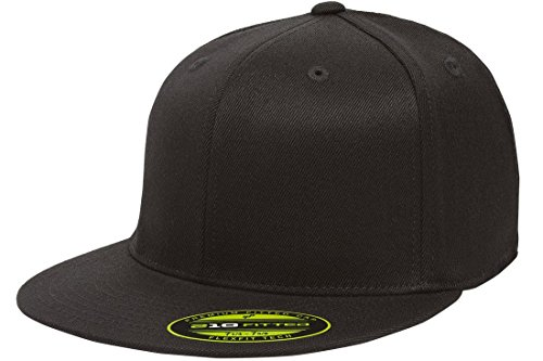 (Flexfit/Yupoong Unisex-Adult's Flexfit 210 Fitted Flat Bill, Black, Large/Extra Large)