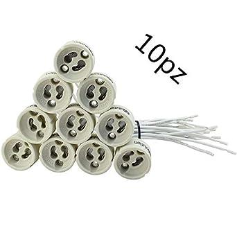 NO 10 portalámparas de cerámica casquillo GU10 para bombillas LED worldleditaly LED iluminación: Amazon.es: Iluminación