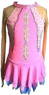 Heart&M Vestito da Pattinaggio di Figura Vestito da Pattinaggio sul Ghiaccio delle Ragazze Spandex Maniche Lunghe di Strass di Paillettes Elasticizzate con Maniche Rosa