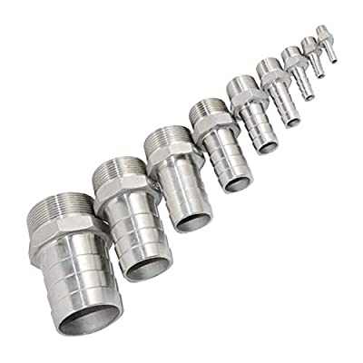 """1/4"""" Male Thread Hose Pipe Fitting x 8mm Barb Hose Tail Connector, Stainless Steel 304 NPT"""