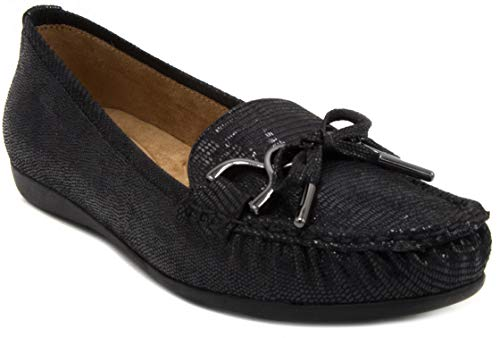 Womens Shoes Shoes Flat (Gloria Vanderbilt Women's Lady Flat Moccasin, Slip On Fashion Shoe with Lizard Skin Upper Black Wide 6.5)