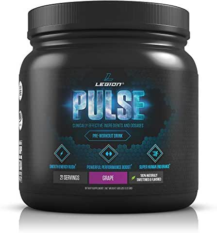 Legion Pulse Pre Workout Supplement - All Natural Nitric Oxide Preworkout Drink to Boost Energy & Endurance. Creatine Free, Naturally Sweetened & Flavored, Safe & Healthy. Grape, 21 Servings