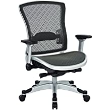 SPACE Seating Professional R2 SpaceGrid Back Chair with Padded Memory Foam Eco Leather Seat, 2-to-1 Synchro Tilt Control, 4-Way Adjustable Flip Arms, and Platinum Finish Accents Managers Chair, Black