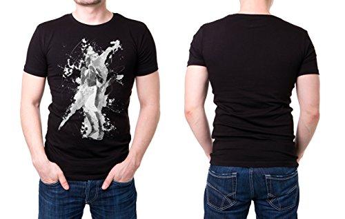 Boxen_V schwarzes modernes Herren T-Shirt mit stylischen Aufdruck