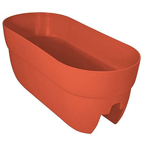 DermaPAD Adjustable Over the Railing Planter Outdoor Planting Box - 24'' - TERRACOTTA by DermaPAD
