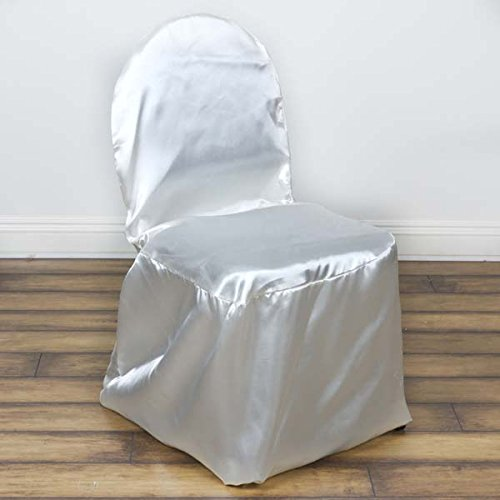 Efavormart Ivory Satin Banquet Chair Covers-Pack of 5