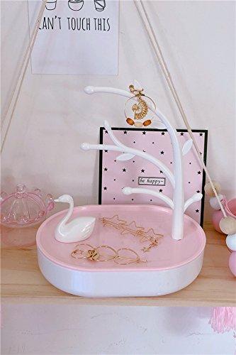 (KENHOI Beauty girl heart pink white swan lake storage box desktop decoration decorative background earrings earings dangler eardrop jewelry storage box)