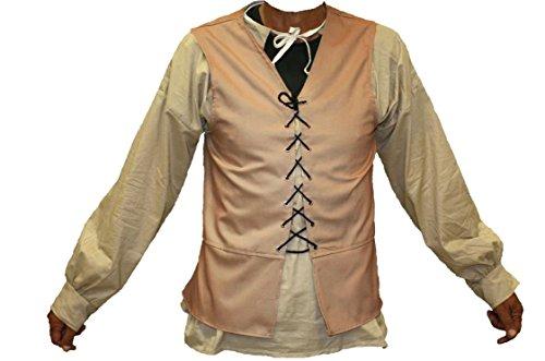 Alexanders Costumes Male Renaissance Vest, Natural, Large (Pirate Queen Costume)