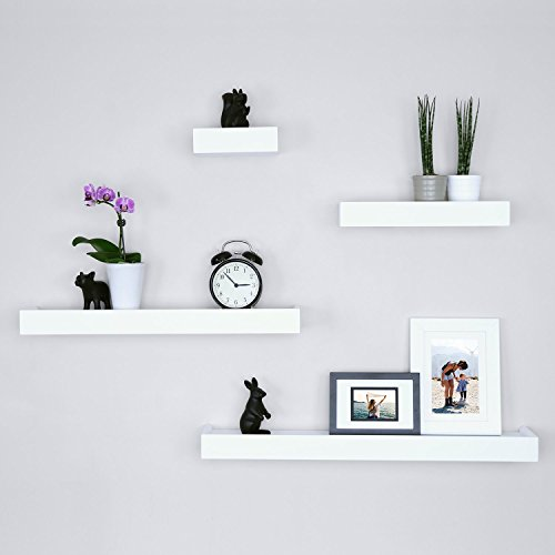 Ballucci Modern Ledge Wall Shelves, Set of 4, White