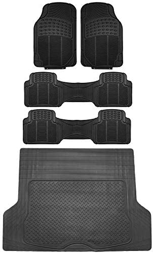 FH Group F11306 + F16400 3 Row Trimmable Vinyl Floor Mats (Black) Full Set – Universal Fit for Cars Trucks and SUVs