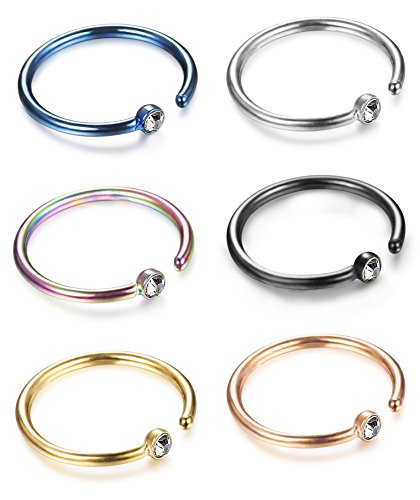 Jstyle 6 Pcs 18-20G 316L Stainless Steel Nose Ring Hoop Cartilage Hoop Septum Body Jewelry Piercing