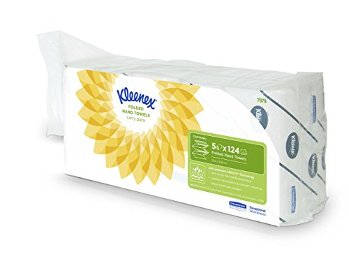 Kleenex Handtücher Ultra (Interfold, Medium), 5 Päckchen x 124 Tücher, 1er Pack (1 x 5 Stück)