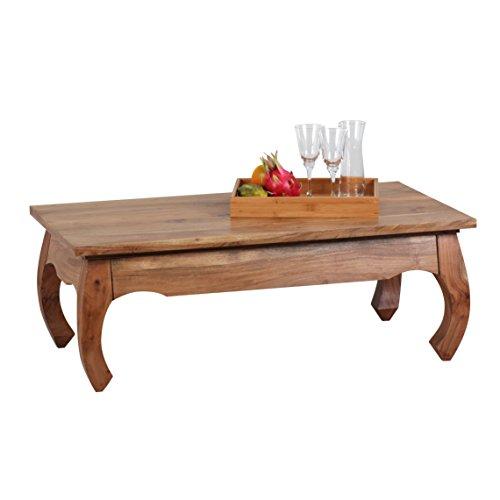 Wohnling de madera de acacia de opio de mesa de centro de madera maciza de 110 x 60 cm de madera maciza