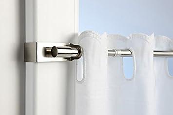 Ventanara Klemmstange Gardinenstange ohne Bohren ausziehbar Silber 45 – 75  cm