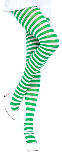 ToBeInStyle Women's Nylon Horizontal Striped Tights - White/KGreen - One (Green And Purple Striped Tights)