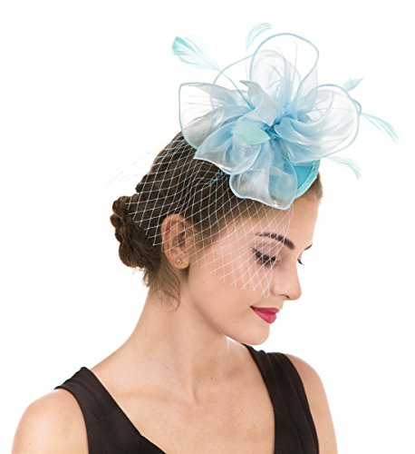95636a7f516 SAFERIN Fascinators Hat for Women Tea Party Headband Kentucky Derby Wedding  Cocktail Flower Mesh Feathers Hair