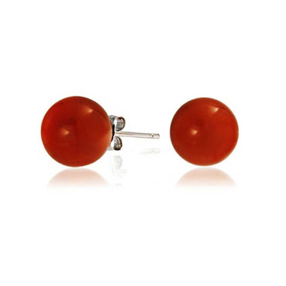 Round Dyed Carnelian Bead Sterling Silver Ball Studs 8mm