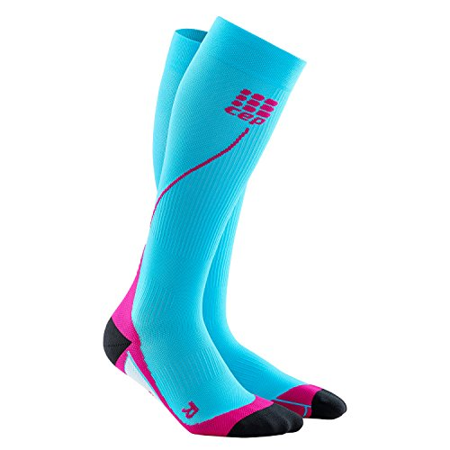 Womens Running Compression Socks - CEP Long 2.0 (Hawaii Blue/Pink) II by CEP (Image #1)