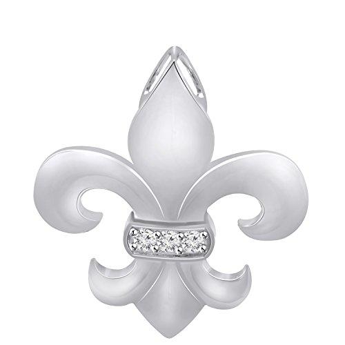 Pretty Jewels Genuine Diamond Fleur-de-Lis Pendant Necklace (0.07 Carat) in Sterling Silver ()