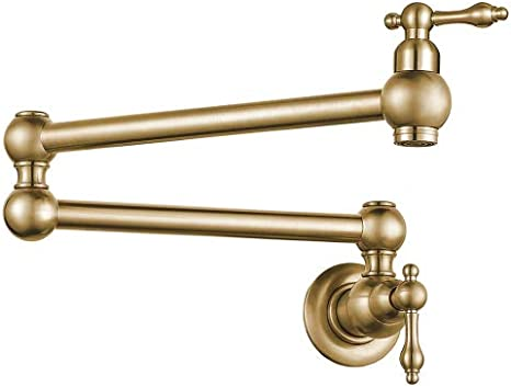 Classic Foldable Single Hole Double-Handle Kitchen Sink Faucet in Antique Brass