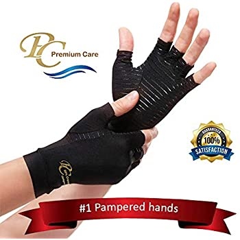 Premium Copper Compression Arthritis Gloves - Highest 88% Infused Copper Content Available. #1 Best Copper Infused Glove for Women and Men. Pain Relief and Healing for Arthritis, Carpal Tunnel (Large)
