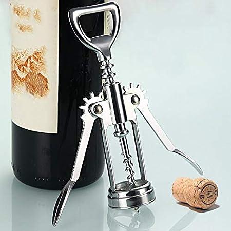 SeniorMar 1Pc Abrebotellas de Acero Inoxidable Camarero Sacacorchos para Vino de Metal Abrebotellas Manija Sacacorchos 16 x 5.5 x3.5cm