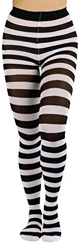 (ToBeInStyle Women's Wide Horizontal Striped Opaque Tights - Blk/Wht - One Size)